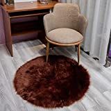 JYHQ Cojín de felpa, piel de oveja sintética, cojín de piel de oveja ultrasuave, acolchado para sofá, lavable a máquina para un fácil cuidado, 1 pieza marrón oscuro redondo 60 x 60 cm