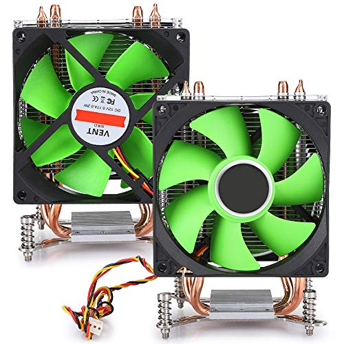 Goshyda Enfriador de CPU, radiador de CPU de Doble Tubo de Cobre no liviano de Ventilador Doble de 3 Cables, para AMD / AMD3 / AM4 / FM1 / FM2(Verde)