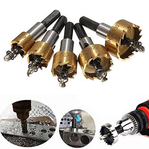 YEESEU Durable 5pcs Agujero consideró bit aleación de Acero Inoxidable Metal Fresas de Taladro Set, 16/18,5/20/25 / 30mm con Llaves Herramientas industriales
