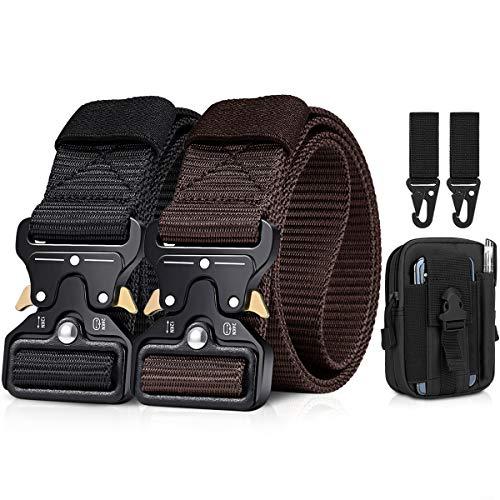BESTKEE Paquete de 2 cinturones tácticos para hombres de 1.5 pulgadas, cinturón resistente, hebilla de metal de nailon con cierre de liberación rápida