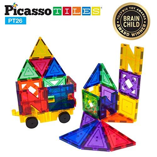 PicassoTiles PT26 Inspirational Set Magnet Building Tiles Clear Color Magnetic 3D Building Block - Creativity Beyond Imagination! Educational, Inspirational, Conventional, Recreational