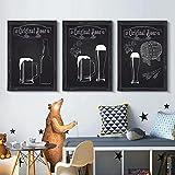 Fondo de grano de madera en blanco y negro Taza de cerveza Barril de cerveza Lienzo Pintura Póster Arte de la pared Restaurante Decoración de la cocina Sin marco-B_50x70cmX3