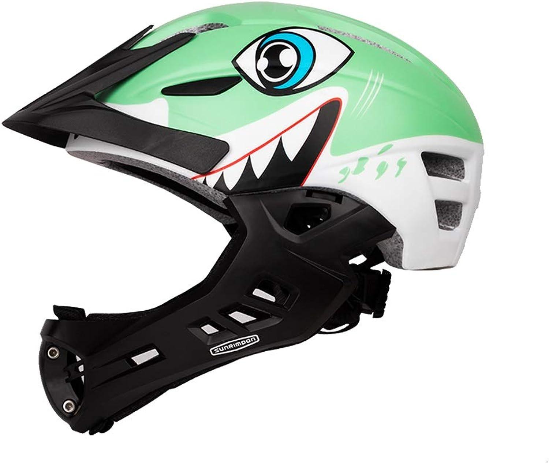 buena calidad JHERT Equilibrio para Niños Coche Skid Full Face Casco Deportes Deportes Deportes al Aire Libre Equipo de projoección de Equipo de equitación (Color   verde)  contador genuino