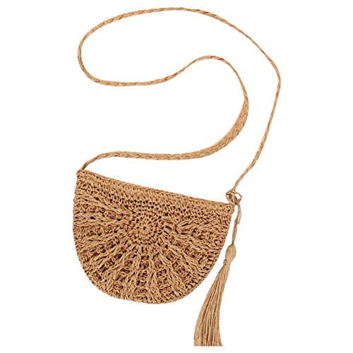 SODIAL Borsa a tracolla in tessuto a tracolla donna Borsa a tracolla in tessuto a spalla intrecciata e borse (Cachi)