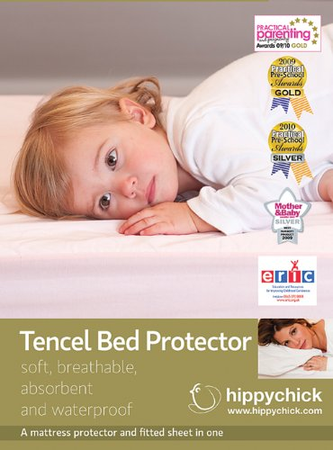 Hippychick Tencel Fitted Mattress Protector, 70 x 140 cm Cot/Bed - Pale Pink
