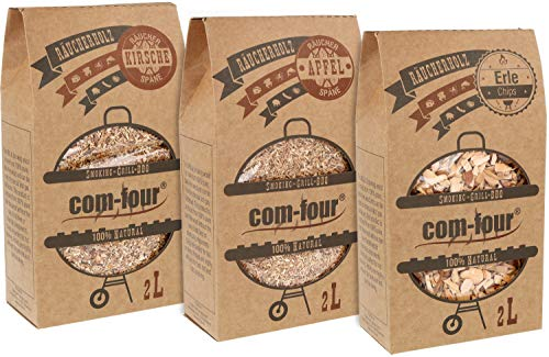 com-four® 3X Premium-Pack aus Räucherchips und Räucherspänen - 100% natürliches Raucharoma Apfel, Erle, Kirsche - für Smoker, Kugelgrill, Standgrill und Gas-Grill - 1,5 kg
