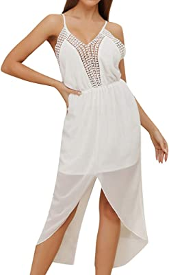 Womens Ladies Casual Sleeveless Full Lace Mesh Contrast Bodycon Dress Size 8-14
