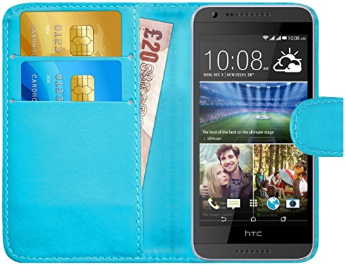 G-Shield Hülle für HTC Desire 620/620g Klapphülle mit Kartenfach - Hellblau