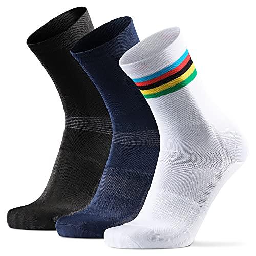 DANISH ENDURANCE Calcetines de Ciclismo para Hombres y Mujeres, Paquete de 3 Calcetines de Bicicleta Transpirables hasta el Tobillo (1 x Rayas, 1 x Negro, 1 x Azul), EU 39-42