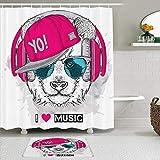 Juego de cortinas y tapetes de ducha de tela,Panda Gafas Auriculares Salvaje Hiphop Bosquejo Canción a mano alzada Som,cortinas de baño repelentes al agua con 12 ganchos, alfombras antideslizantes