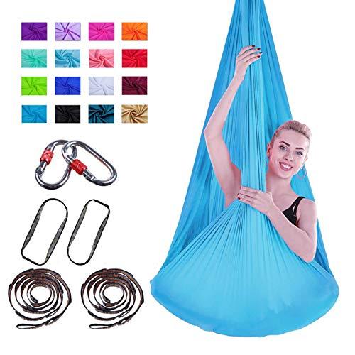 Sunningdale Yoga Swing Aerial Yoga Hamaca Premium Aerial Silk Fabric 4mx2.8m Yardas Antigravedad Yoga Flying Trapeze, Inversión Pilates, Swing Sensorial con Mosquetón, Daisy Chain Uso En Interiores