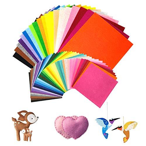 koitoy 60 Stück DIY Filzstoff,40 Farben Felt Fabric Filzplatten,Kinder Vliesstoff Stoff Filzplatten zum Filzuntersetzer Basteln Nähen DIY Patchwork (20pcs/20*30cm,40pcs/15*15cm)