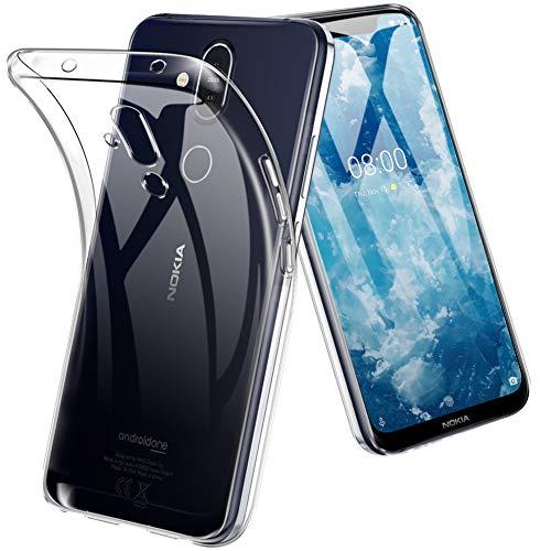 TOPACE Hülle für Nokia 8.1, Ultra Schlank R&umschutz Softschale Silikon TPU Stoßfest Handyhülle Schutzhülle Anti-Fingerabdruck Shock Absorption Tasche Cover für Nokia 8.1 (Transparent)