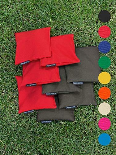 8 Cornhole Säckchen mit 400g (oder 250g) Füllung (Kunststoff Granulat oder Mais), freie Farbwahl und sehr strapazierfähig von Hand genäht - Beanbag, Bohnensäckchen - Made in Germany