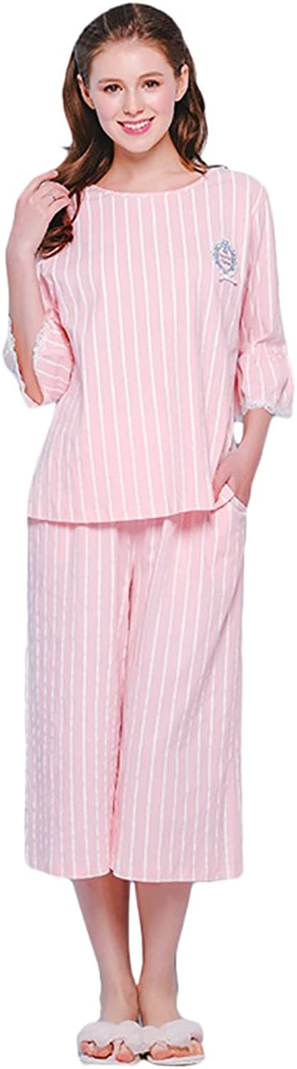Striped pajamas sweet girl pure cotton home clothing set ( color   Pink , Size   XL )