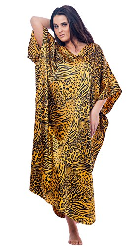 Up2date Fashion Caftan/Kaftan, Pretty Golden & Black Animal Print, Plus Size, Style#Caf31