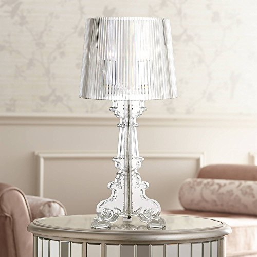 Baroque Antique Victorian Style Accent Table Lamp Decor Clear Acrylic See Through Base Tapered Drum Shade for Living Room Bedroom House Bedside Nightstand Home Office Family - 360 Lighting