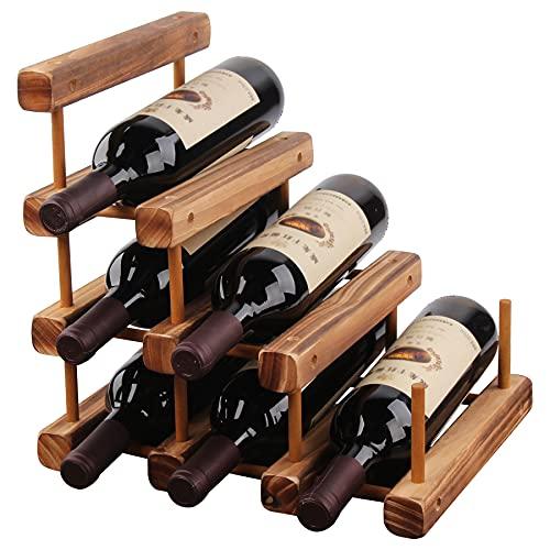 Estante De Vino De Madera Para 6 Botellas Pequeño Soporte De Vino Escalable Modular Para Cocina, Armario, Bar, Bodega, Minibar,Baked color