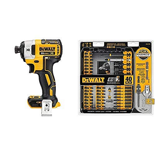 DEWALT 20V MAX Impact Driver, Brushless, 3-Speed, 1/4-Inch, Tool Only with Screwdriver Bit Set, Impact Ready, 40-Piece (DWA2T40IR & DCF887B)