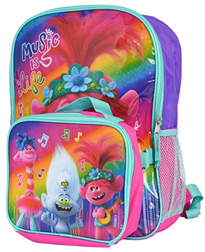 Trolls World Tour 16' Backpack with Lunch Case Set Poppy Music Print