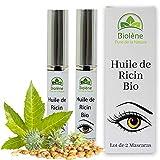Huile de Ricin BIO pour Cils et Sourcils, Lot de 2 Mascaras, Stimule et Acclre la Pousse des Cils et Sourcils, Naturellement Riche en Vitamines, Hypoallergnique, Efficacit Cliniquement Prouve