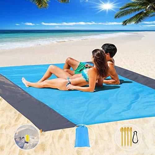 Epesl Manta de pícnic o playa, 200 x 210 cm, impermeable, antiarena, 4 esquinas de fijación, picnic/playa, para deportes, viajes, camping, dormir, senderismo
