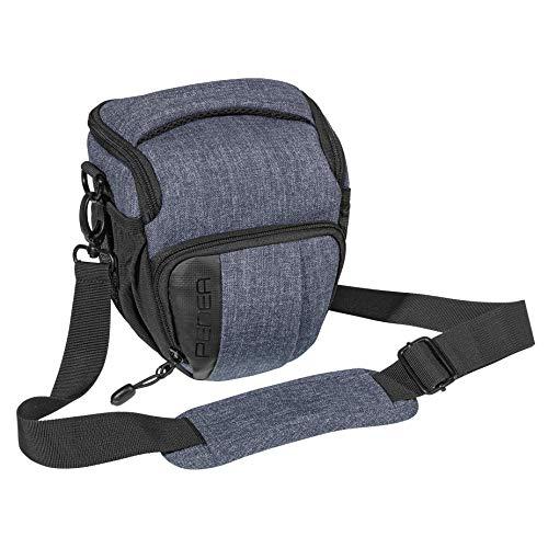 PEDEA DSLR-Kameratasche Fashion Fototasche für Spiegelreflexkameras mit wasserdichtem Regenschutz, Tragegurt und Zubehörfächern (Größe M, grau)