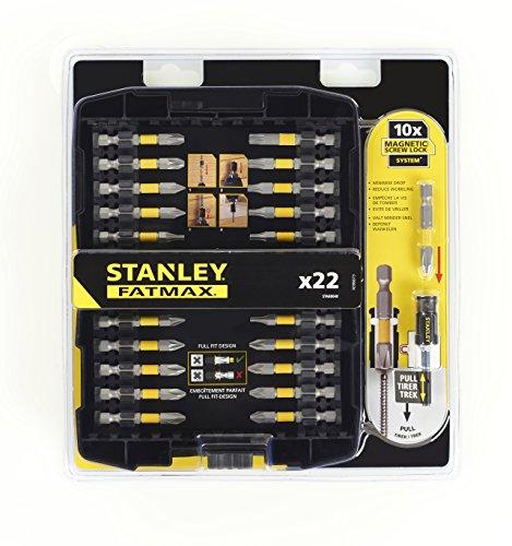 STANLEY STA88040-XJ - Juego de 22 piezas para atornillar con 21 puntas de 50 mm: (2xph1, 3xph2, ph3, 2xpz1, 4xpz2, 2xpz3, T10, T15, 2xT20, T25, T30, T40) y adaptador magnético con bloqueo