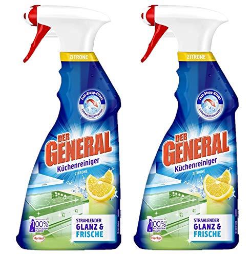Der General Küchenreiniger Zitrone, Spray, beseitigt Fett und Schmutz für hygienische Sauberkeit 2er Pack (2 x 500 ml)