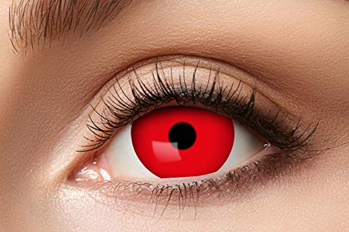 Eyecatcher 84092841.e04 - Farbige Sclera Kontaktlinsen, 1 Paar, für 6 Monate, Rot, Karneval, Fasching, Halloween