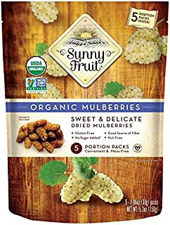 ORGANIC Turkish Dried Mulberries - Sunny Fruit - (5) 1.06oz Portion Packs per Bag | Purely Mulberries - NO Added Sugars, S...
