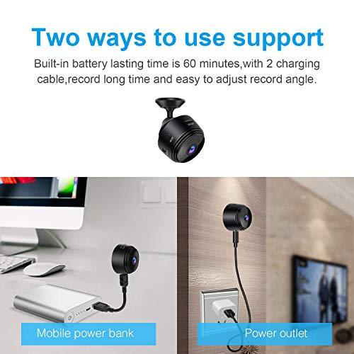 WiFi Mini Kamera Ultrakompakte Netzwerk Kamera Wireless ip Kamera 1080P mit Bewegungserkennung Nachtsicht kameras, Nanny Baby Pet Cam für iPhone/Android Telefon/iPad /(Unterstützung 128G SD-Karte)