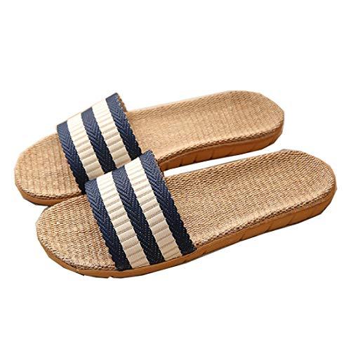 Zapatillas para Mujer Hombre Unisex Zapatillas de Estar por Casa de Lino Interior Sandalias de Playa Verano Primavera Otoño(Azul,44-45)