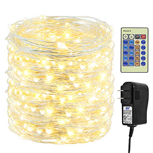 Haynery 500 LED Christmas String Lights 165FT Long Fairy Lights with Remote, Warm White Outdoor Indoor Plug in Silver Copper String Lights for Christmas Tree Party Garden Decoration