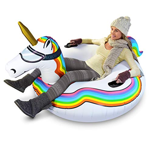 GoFloats Winter Snow Tube - Inflatable Toboggan...