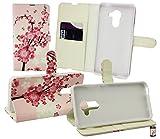 Emartbuy® Vodafone Smart Platinum 7 Brieftaschen Wallet Etui Hülle Case Cover aus PU Leder mit Kreditkartenfächern - Rosa Blühen