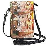 XCNGG Monedero pequeño con bandolera Scenery Anime Game Cute GirlPhonepurse para mujer Bolsos Cuero Multicolor Bolsos para teléfonos inteligentes Monedero con correa extraíble