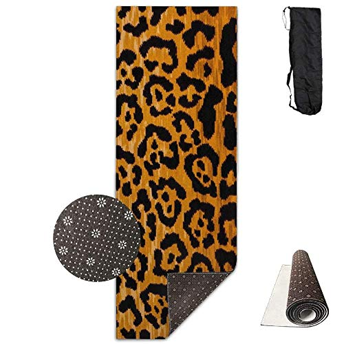 Bikini bag Yoga Mat Non Slip Leopard Print Printed 24 X 71 Inches Premium for Fitness Exercise Pilates with Carrying Strap