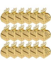 TINKSKY 25 Stuks Eid Mubarak Crown Gift Dozen Ramadan Papier Dozen Snoep Moslim Party Hollow Snack Suiker Chocolade Zak Ramadan Kareem Eid Islamitische Partij Decoraties (Golden)