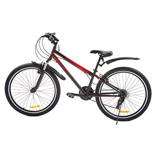 Viribus 26' Mountain Bike w 21 Speeds | All Terrain Front Suspension Dual V-Brakes Adjustable Seat for Dirt Sand Snow More | Road Bike with Torch for Men or Women, Carbon Steel, Red (26'')