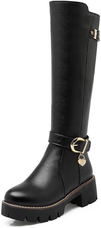 AllhqFashion Women's High-top Solid Zipper Round Closed Toe Kitten Heels Boots