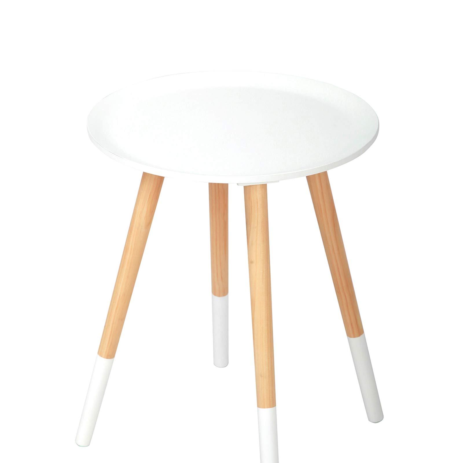 Camera da Letto Bianco//Naturale 1 pz HxD 46x38 Gambe in Legno Design Scandinavo Relaxdays Tavolino Rotondo pannelli MDF con Tiretto