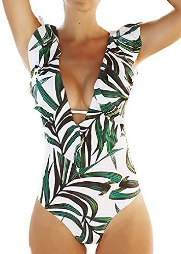 Costume Intero Donna - da Bagno - Mare - Volant - Scollato - Ragazza - Sexy - Vintage - Foglie - Floreale - Fantasia - Colore Bianco e Verde - Taglia S