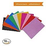 ZADAWERK Glitzerschaumstoff - Selbstklebend - 20x30 cm - 10 Farben - 10 Stück