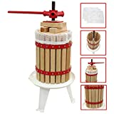 KuKoo 6 Litre Fruit Press Crusher Wine Making Tool Cider Kit Grape Pear Apple-Juice Berry - 3 x Free Press Bags