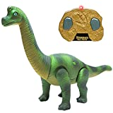 Liberty Imports Dino Planet Remote Control RC Walking Dinosaur Toy with Shaking Head, Light Up Eyes and Sounds (Brachiosaurus)