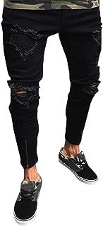 Men Slim Biker Denim Jeans Skinny Frayed Pants Distressed Rip Trousers