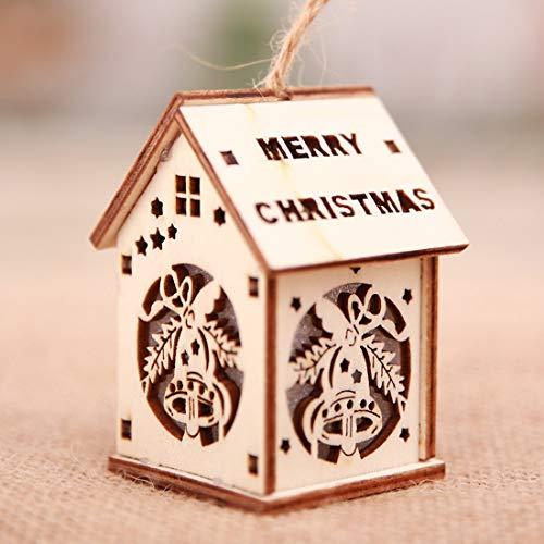 Formulaone Glowing Christmas Cabin Weihnachtsmann Xmas Deer Anhänger Holzhaus Anhänger Für Christmas Tree Party Home DecorationBellL - Holz