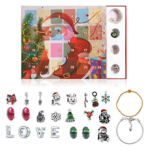 BOSW Advent Calendar for Girls 2020 Christmas Countdown Calendar,Xmas Themed DIY Charm Bracelet Jewelry Gift for Ladies, Teenagers