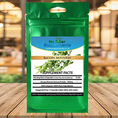 NoFillerSupplements Bacopa Monnieri Extract 60 Veggi Capsules (Waterhyssop, Brahmi)